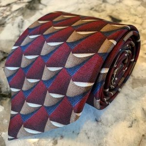 "J. Z Richards Tie 4 "" maroon blue beige tan silk"
